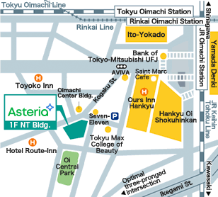 Access map for Asteria Corporation, Tokyo.