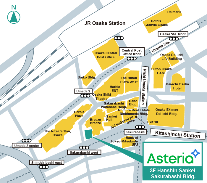 Access map for Asteria Corporation, Osaka.