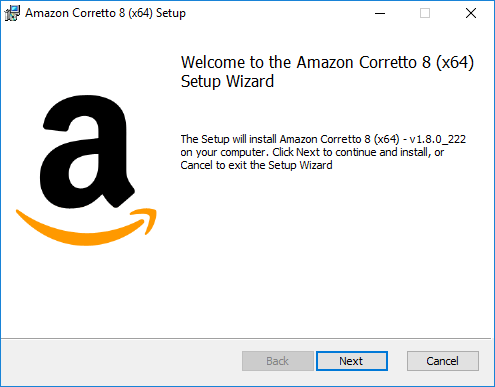 Welcome to the Amazon Corretto 8 (x64) Setup Wizard