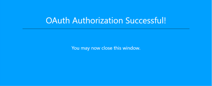 OAuth Authorization Sucessful!